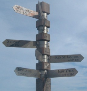Direction Pole at Cape Point, South Africa