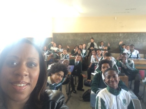 selfie with learners in Afrikaans class @ Heathfield High